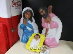 Rare African American Nativity Empire Lighted Blow Mold Set 3 piece Christmas