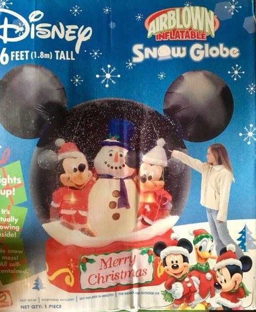 Rare Airblown Inflatable 6 Disney Mickey & Minnie Snow Globe New Gemmy