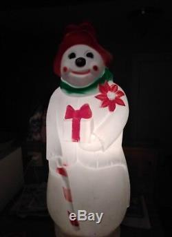 Rare Hobo Snowman Empire Blow Mold Christmas Light Yard Decor 40 Inches