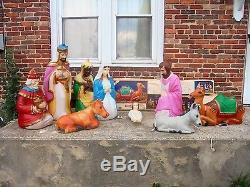 Rare Large Vintage Empire Nativity Set Jesus Mary Blowmold Xmas Vgc Light Lamp