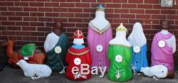 Rare Life Size Vtg Empire 9 Pc Nativity Blowmold Xmas Vgc Light Lamp Jeweled Set
