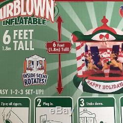 Rare NEW 6 Ft Inflatable Animated Carousel Rotating Christmas Airblown Gemmy