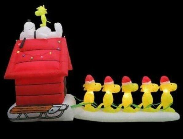 Rare New 12 Ft Long Gemmy Christmas Peanuts Snoopy Woodstock Sledding Inflatable