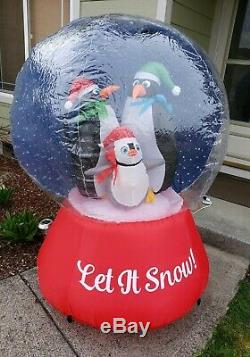Rare New 5.5 Ft Tall Christmas Penguin Family Snow Globe Inflatable By Gemmy