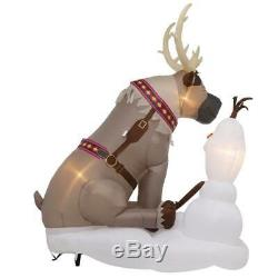 Rare New 7 Ft Tall Christmas Disney Frozen Olaf & Sven Led Inflatable Gemmy