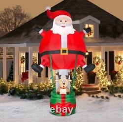 Rare New Giant 12.5 Ft Tall Santa Claus Hot Air Balloon Ride Inflatable Gemmy