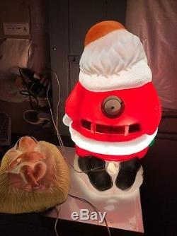Rare! TPI Kneeling Santa Withbaby Jesus Christmas Blow Mold In Original Box! Light