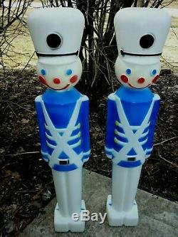 Rare Two Blue Union Soldiers Blow Molds Lighted Plastic