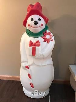 Rare Vintage 40 Empire White Lighted Blow Mold Hobo Clown Holding Present