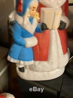 Rare Vintage Christmas Dickens Mr. & Mrs. Black Lamp Post Blow Molds FREE SHIPP