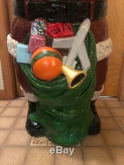 Rare Vintage Whispering Santa 46 Inches Blow Mold Holiday Christmas Yard Decor