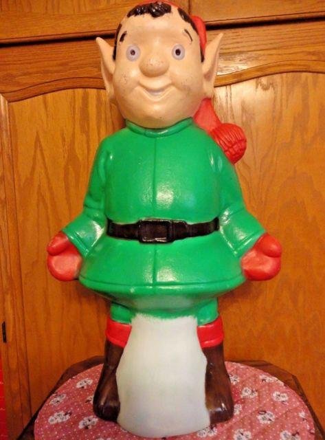 Rare Vtg 26 Tpi Elf Wearing Santa Hat Christmas Blow Mold Light Up Yard Decor