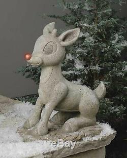 Roman Lights 18 Solar Rudolph Statuary Outdoor Garden Statue Christmas # 38207