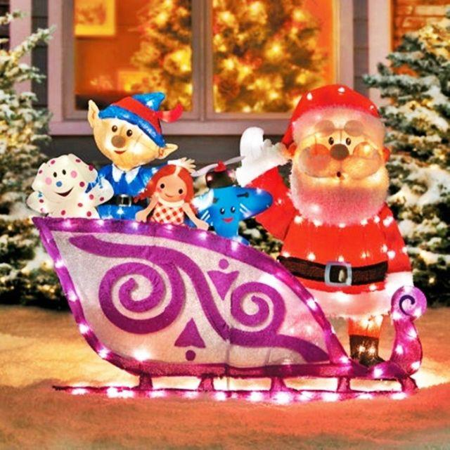 Rudolph Classic Misfit Toys Sleigh W Santa Claus Pre Lit Tinsel Christmas Yard