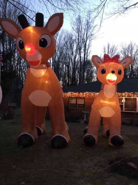 Rudolph The Red Nose Reindeer & Clarice Giant Inflatables, Animated 15 Ft, 12 Ft
