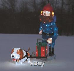 Rudolph's YUKON CORNELIUS DOG SLED Pre Lit CHRISTMAS Outdoor Yard Decor