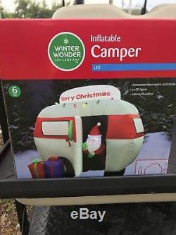 Santa Camper RV Merry Christmas Airblown Inflatable LED Lights Up New