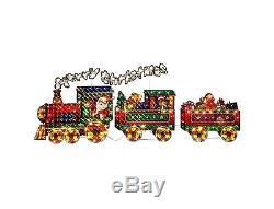 Santa & Friends 5 Ft. Merry Christmas Holographic Pre Lit Train Outdoor Decor
