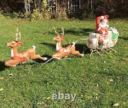 Santa / Sleigh Reindeer Blow Mold 72 Christmas Yard Light RARE! Large