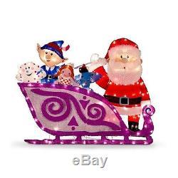 Santa & Sleigh With Misfit Toys Lighted Rudolph Christmas Decoration