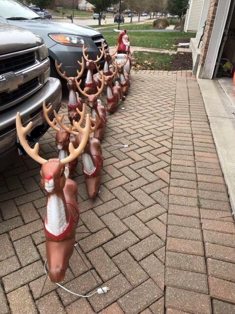 Santa With Sleigh With Rudolph And All 8 Reindeer Set Christmas Lighted Blow Mold