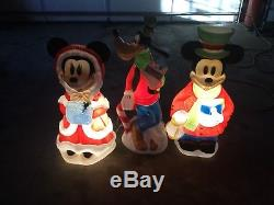 Santas Best Disney Goofy Mickey& Mini Lighted Christmas Blow Mold 1999