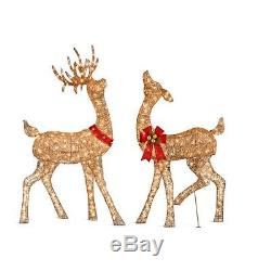Set 2pc Lighted Champagne Reindeer Deer Doe Buck Figures Outdoor Christmas Decor