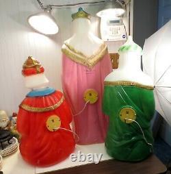 Set Of 3 General Foam Plastic Blow Mold Lighted Nativity Scene 3 Wise Men Kings
