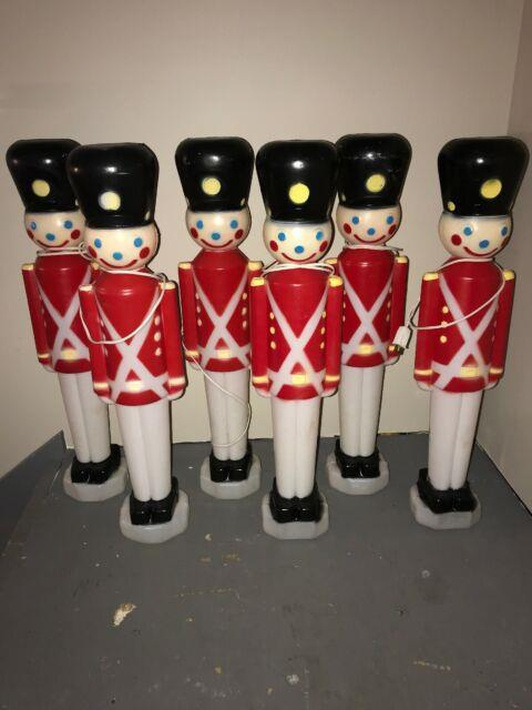 Set Of 6 Black Hat Blow Mold Soldiers! Christmas Outdoor Lighted! 31