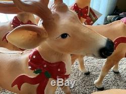 Set Of 8 Blow Mold Reindeer Deer Standing LED Christmas 27 Light Up Bow