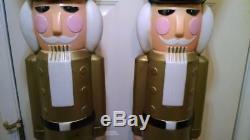 Set of 2 RARE 40 NUTCRACKER Gold Jacket, Christmas Blow Mold Yard Decoration