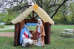 Super Rare 9ft Tall Vintage Gemmy Inflatable Christmas Nativity Manger Scene
