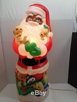 TPI Santa Claus African American Dog Puppies Puppy Christmas Yard Blow Mold 1997