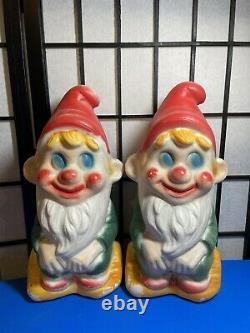 TWO Vintage Poloron 13 Blow Mold Christmas Elf Gnome Figures Sitting on a Log