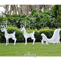 Teak Isle Large Christmas Outdoor Santa Sleigh and 2 Reindeer Set New