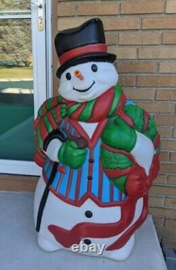 USA Santa's Best LARGE 45 blow mold lighted outdoor snowman with carrot nose