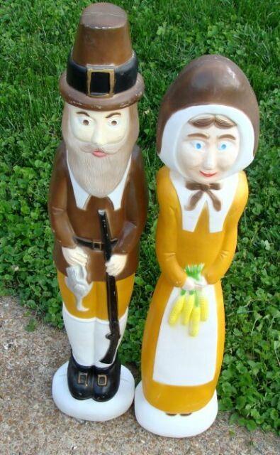 Union Blow Mold Thanksgiving 35 Pilgrim Couple Don Featherstone 1996 Yard Light