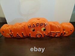 Union Don Featherstone Happy Halloween Line Of Pumpkins Blow Mold Signed #5612