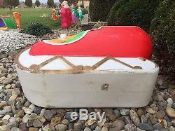 Union Sleigh Christmas Santa Reindeer Blowmold Plastic Lawn Ornament
