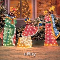 Unique 3pc LIGHTED WISEMAN NATIVITY Outdoor Christmas Display Religious Yard Art