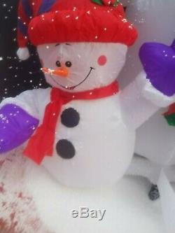 VIDEO! Snowman Family Animated Snow Blow Globe Christmas Airblown Inflatable Up