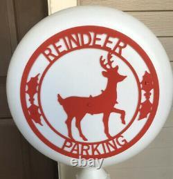 VINTAGE BLOW MOLD REINDEER PARKING Sign Candy Cane Yard Decor New Light Kit, 54