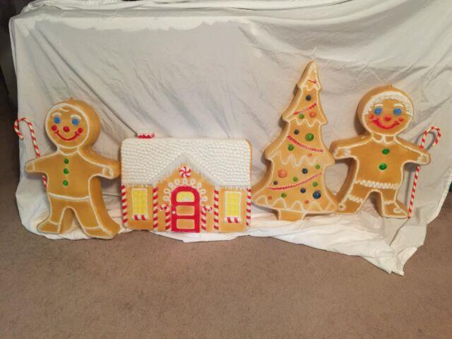 Vintage Christmas Blow Mold Gingerbread Pair, Tree And House-union Products