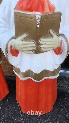 VINTAGE Poloron Caroler Boy And Girl Choir Christmas Blow Mold Yard Decor 48