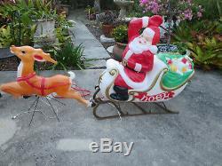 VTG Empire Santa Sleigh and Reindeer Lighted Blow Mold Christmas Yard Decor