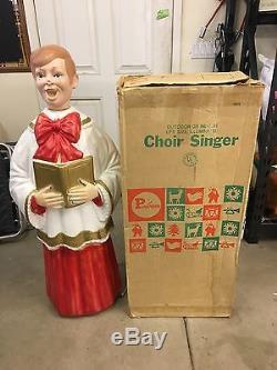 VTG POLORON Xmas Blow Mold Choir Caroler blonde Boy 49tall Org Box Life-Size