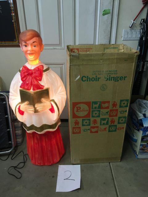 Vtg Poloron Xmas Blow Mold Choir Caroler Blonde Boy 49tall Org Box Life-size #2