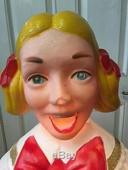 VTG POLORON Xmas Blow Mold Choir Caroler blonde girl 48tall Org Box Life-Size