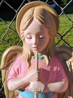 VTG TPI Christmas Angel Trumpet Horn Pair Light Up Blow Mold Nativity Yard Decor