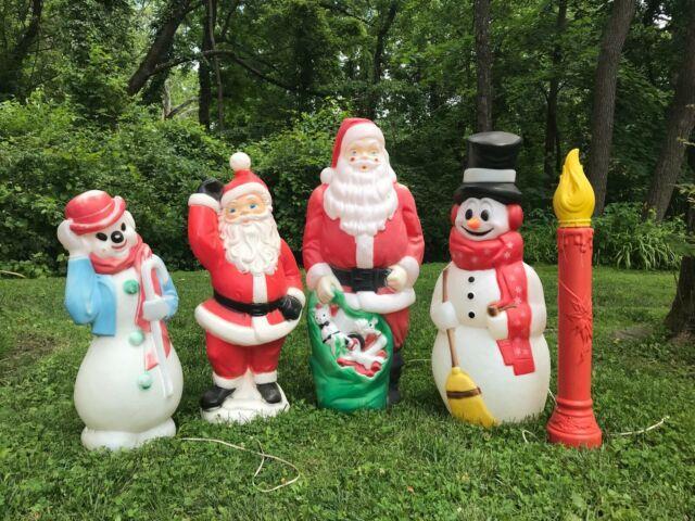 Vtg Xmas Lawn Ornament Blowmold Plastic Snowman Santa Candle 5 Pieces